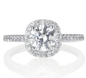 خاتم خطوبة من الماس المحاكاة 1 قيراط (H-I I1-I2) معتمد من الذهب الأبيض