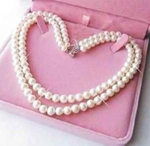 Удивительно красиво!Изысканный 2 строки 7-8 мм белый жемчуг ожерелье 17-18