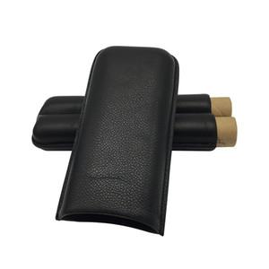 COHIBA Сигарный кожаный чехол Humidor для сигарет с двойной сигарной трубкой, футляр для переноски, 2 кармана для хранения сигар
