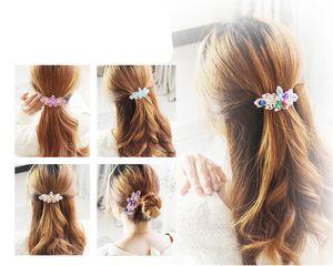 1 unid Precioso Crystal Rhinestone de la Flor Encantadora Horquilla Brillante Hairclip Bling Floral Barrettes Accesorios Para el Cabello Para Las Mujeres Niñas