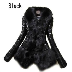 Wholesale- 2016 Hot Luxury Women's Faux Fur Coat Leather Outerwear Snowsuit Long Sleeve Jacket Black Fashion Free Shipping