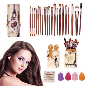 Kit de herramientas de maquillaje de mezcla de base Brush Barrel Holder + 20pcs Pinceles de maquillaje Set + 7pcs Esponja Puff Air Puff + 4pcs Esponja