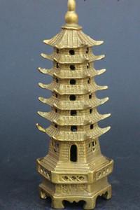 중국 불교 황동 WenChang Stupa 파고다 타워 동상 입상