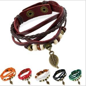 O Novo Retro tecido pulseiras de couro jóias Folha Pingente de Relógio Pulseira De Couro Pulseira Coreano estudantes personalidade