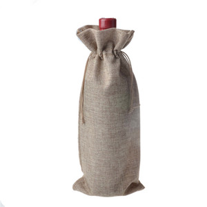 10 pcs Natural linen bottle set Single wine handbag Breath bag 16 * 36cm