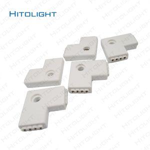 HITOLIGHT 10pcs / lot 사출 몰딩 2PIN 8MM 2850 / 4PIN RGB L 모양 / T 모양 LED 커넥터 5050 RGB LED 스트립 4PIN 4PIN 커넥터