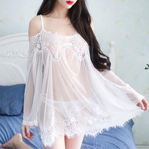 Venda Por Grosso-Novas Rendas Florais Malhagem Nightdress Sexy Off Shoulder Lace Nightgown Sleepwear Mulheres Lingerie Ver Através De Nightwear