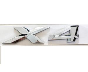 Autocollant de lettre de décalque d'emblème d'insigne de lettres de tronc de nombre de chrome «X 4» pour BMW X4