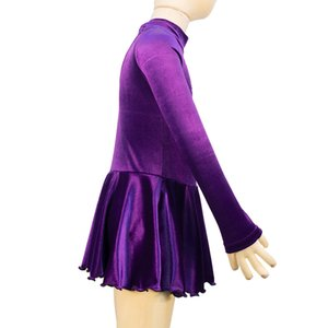 Latest High Neck Long Sleeve Winter Girls Training Dress Skating Competition Velvet Dress On Ice With Stones Free Shipping