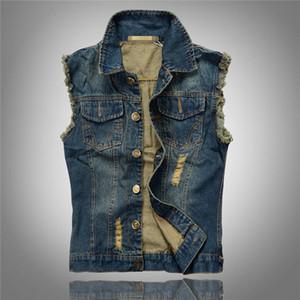 Gros-hommes Denim Blue Jeans Gilet Brand New Cowboy Ripped Gilet Vintage Sleeveless Jacket Jeans Lavés Trou Gilet 4XL 5XL 6XL