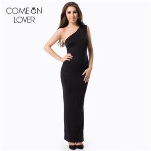 All'ingrosso RE70331 Comeonlover Miglior progettato una spalla delle donne abito nero lungo abito formale pavimento-lunghezza di vendita più il vestito da formato estate calda
