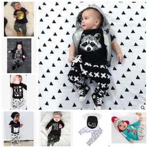 Ropa niños fija los juegos INS Fox raya Carta bebé moda de manga larga camiseta + pantalones casuales infantil Conjuntos Niños ropa del verano de los J437