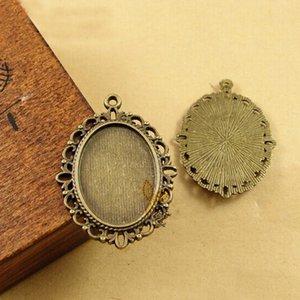 18 * 25mm 타원형 카보 숑 골동품 청동 도금 빈티지 스타일의 합금 펜던트 베젤 세팅에 맞게 Diy Jewelry Accessories