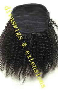 Afro Kinky Curly Weave Ponytail Coiffures clip ins naturels Ponytails Extensions queue de cheval cordon de serrage poils de poney court haut