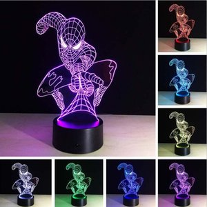 Top Quality New Attack Spider Man 3D Lamp 7 Color Led Gradient Night Light Детский стол Lampara Baby Sleeping Creative Festival День рождения Подарки