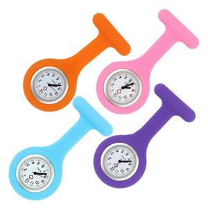 Navidad Regalo de la enfermera del silicón del reloj del clip de bolsillo Relojes de moda broche de la enfermera túnica del Fob de la cubierta del silicio Relojes