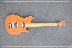 Edward Van Halen Lobo Hombre de la música Ernie Ball Axis Naranja Flame Maple Top Guitarra eléctrica Tremolo Bridge Contraportada En stock