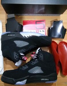 Оптовая Черный металлик 5s высокое качество металлик черный OG золотая медаль баскетбол обувь мужчины женщины размер с коробкой