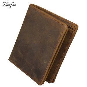 Toptan- erkek çılgın at deri cep cüzdan kahverengi hakiki deri cüzdan iç fermuarlı cep dikey dana çanta hızlı sonrası