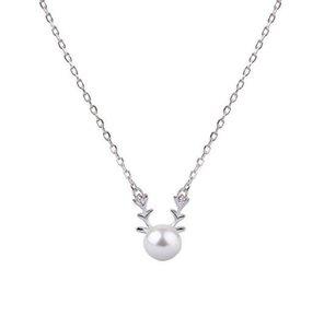 Coreano 30% Silver Deer Pearl Colgante Collar Clavícula Encantos Regalo de cumpleaños Colgante Accesorios de joyería para Mujeres Regalo de Navidad
