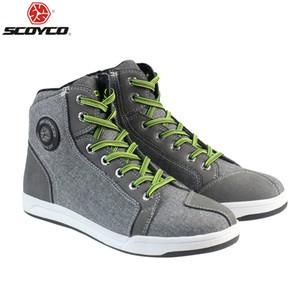SCOYCO 016 Motorcycle Boots Men Grey Casual Fashion Wear Shoes Breathable Anti-skid Protection Gear Botas De Motociclista