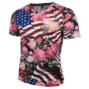 3D T-shirts De Mode Marque T-shirt Hommes / Femmes 3d T-shirts V-cou Imprimer USA Drapeau Crânes Roses Fleurs Graphique T-shirt D'été T-shirts