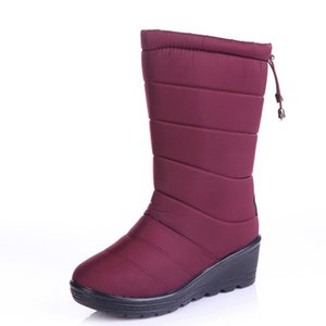 2017 Zapatos Mujeres Botas negro rojo Mid-Calf Riding Boots Rusia Invierno impermeable Keep Warm Snow Boots Down Shoes