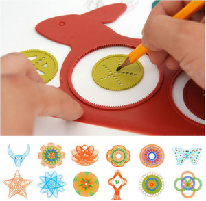 마법의 토끼 드로잉 보드 모델 만화경 DIY 그림 장난감 아이 지능 장난감 다기능 통치자 아이 선물