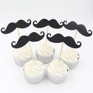 Wholesale-Little Man Black Moustache Cupcake toppers decoration for Baby Shower Kids Birthday party favors Decoration Supplies