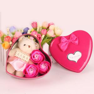 Bear Doll Soap Flower 3 flores coração romântico Rose Gift Box Valentine dia do casamento Decoração Artes E Ofícios 4 5mw C R