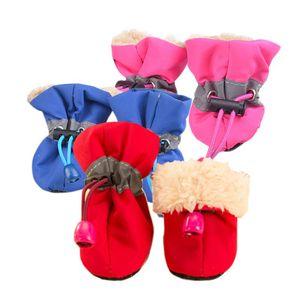 3 colori 4 pz / set pet dog scarpe impermeabili inverno caldo morbido di spessore cani traspiranti scarpe di avvio per cuccioli di chihuahua s / m / l