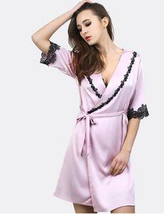 Top qualità elegante e lussuoso Abito da donna Camicia da notte imitato tessuto di seta Camicia da notte da donna Sexy Sleepwear Abito accappatoio M L XL XXL