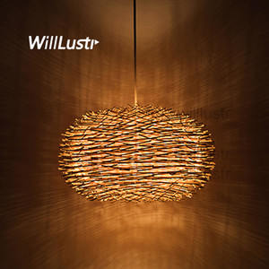 willlustr wicker pendant lamp handmade bird nest suspension light hotel restaurant mall bar lounge porch rattan hanging chandelier lighting