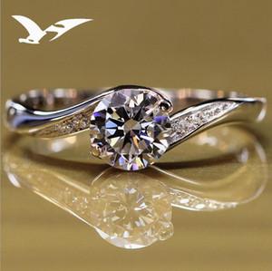 Nuovo anello in argento con diamante artificiale, anello di diamanti, signora, coppia, anello di nozze, gioielli con sigillo, lettere, pietra di comando, 5 cm, v