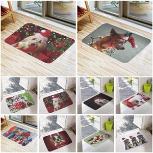 Bienvenido Tapetes Feliz Navidad linda impresión perro Alfombras de baño Cocina Casa Doormats para sala de estar antideslizante Tapete Alfombra 16X24inch