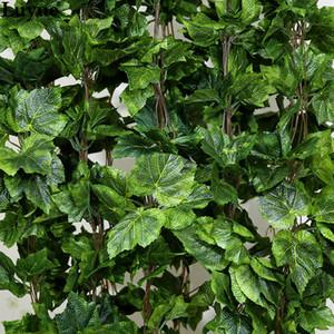 All'ingrosso-10PCS come il vero artificiale Seta foglia d'uva ghirlanda finto vite Ivy Indoor / outdoor home decor fiore matrimonio regalo di Natale verde