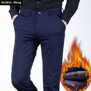 Toptan-Brother Wang marka 2017 kış yeni erkek sıcak rahat pantolon moda iş ince elastik Polar kalın pantolon artı boyutu 44 46