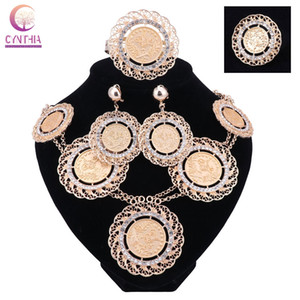 Moda italiana Dubai Abaya Long Jewelry Sets Monedas de oro Mujer African Gold-Plated Crystal Costume Necklace Pendientes Set