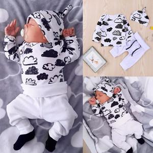 Mikrdoo autunno ragazze del neonato vestiti stabiliti dei capretti Cotone cloud Maglietta stampata pantaloni cappello bianco 3pcs vestito infantile sveglio della maglietta degli indumenti da notte Outfits