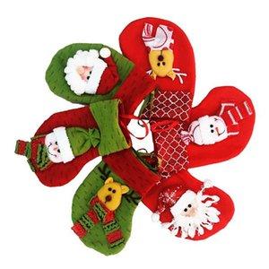 Ткань 18x13x10см Рождественский чулок / носки Конфеты в мешках Санта-Клаус Рождественские подарочные пакеты Сумка для хранения Navidad Новогоднее украшение