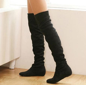 Wholesale-2016 New Brand Size 34-43 Women Boots Winter Autumn Fashion Flat Bottom Boots Over The Knee High Leg Suede Women Long Boots