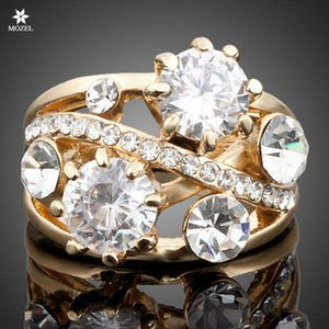 Wholesale MOZEL Fashion Jewelry Gold Plated Swarovski Crystal Gorgeous Transparent Women Wedding Party Rings Drop Shipping TR0005