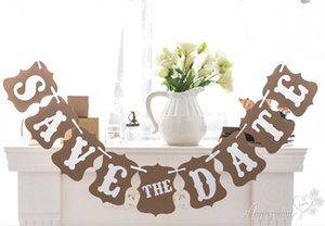 Al por mayor-Vintage Wedding Bunting AHORRE LA FECHA BANNER Photo Booth Prop Wedding Banners hechos a mano Wedding Photo Decoration Favors