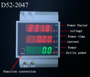 D52-2047 Светодиодная рейка Din Активный коэффициент мощности Счетчик энергии Напряжение Вольтметр Измеритель напряжения Вольтметр Амперметр переменного тока 80-300 В 0-100.0A