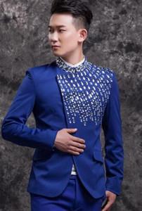 abiti da uomo disegni masculino homme terno costumi di scena per cantanti uomini blazer diamante abiti da ballo giacca stella stile punk blu