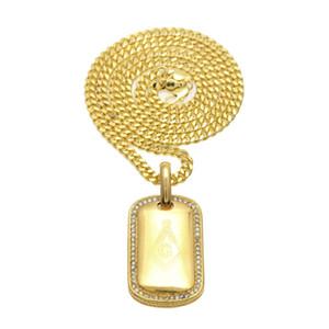 Мужская нержавеющая сталь золотой цвет собака тег армия военная карта масонский кулон мода панк ювелирные изделия хип-хоп ожерелье цепь