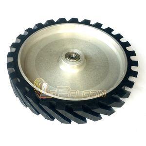 300*50mm Belt Sander Contact Wheel Grooved Surface Rubber Polishing Wheel