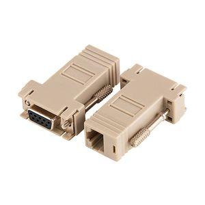 RJ45 Toptan 50Pcs / Lot için RJ45 Dişi F / F RS232 Modüler Adaptör Konnektör Uzatma Dönüştürücü DB9 Kadın için DB9 Kadın