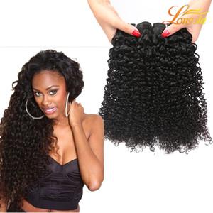 """Produtos Longjia Brasileira Kinky Curly Hair Bundles Virgem Do Cabelo Humano Tecer 8 """"-26"""" Cor Natural 1B Extensão Do Cabelo Encaracolado Profunda Frete Grátis"""