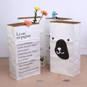 Leinwand Aufbewahrungstasche Große Cartoon Schwere Kraftpapier Tasche Kinderzimmer Organizer Tasche Muster Wäschebeutel für Baby Spielzeug Kleidung